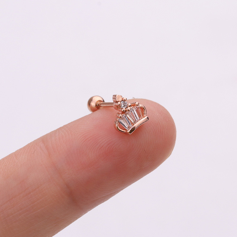 Ear Piercing Jewelry 1PC Stainless Steel Bar CZ Opal Pineapple Cartilage Helix Tragus Conch Rook Lobe Screw Back Earring Stud in Body Jewelry from Jewelry Accessories