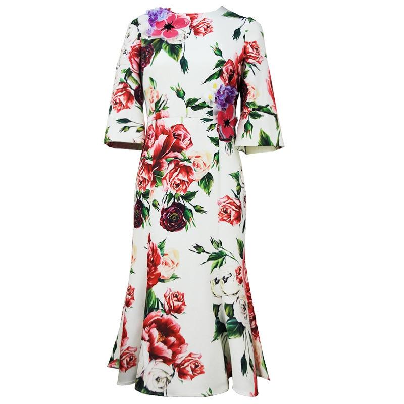 2018 Fashion Designer Runway Summer Dress Women's Half Sleeve Peony Floral Printed Appliques Beading Mermaid Dress Free DHL half placket pearl beading tie cuff dress