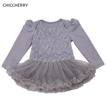 3D Rose Gray Infant Wedding Dress Children's Dresses For Kids Party One Piece Baby Girl Dress Vestido Bebe Toddler Girl Clothing