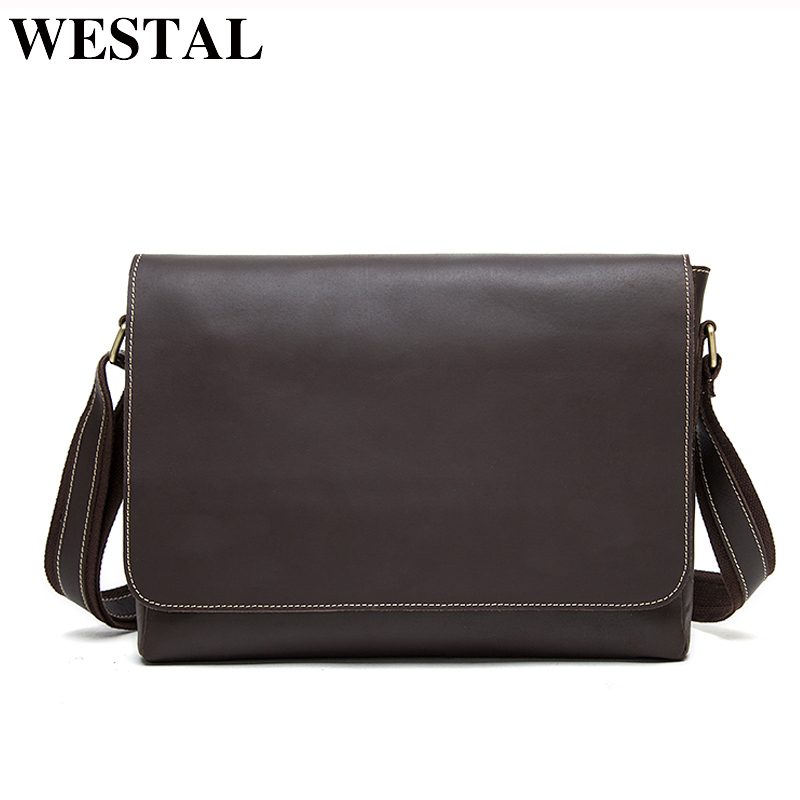 WESTAL Men s Bags Crazy Horse Genuine Leather Vintage Male briefcase messenger bag Men s Shoulder