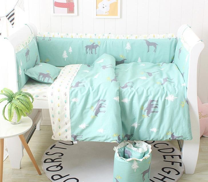 Promotion! 6/9PCS Elk Cartoon Kids Bed Bumpers Crib Cot Bedclothes Blanket Baby Bed Bedding Sets whole setPromotion! 6/9PCS Elk Cartoon Kids Bed Bumpers Crib Cot Bedclothes Blanket Baby Bed Bedding Sets whole set