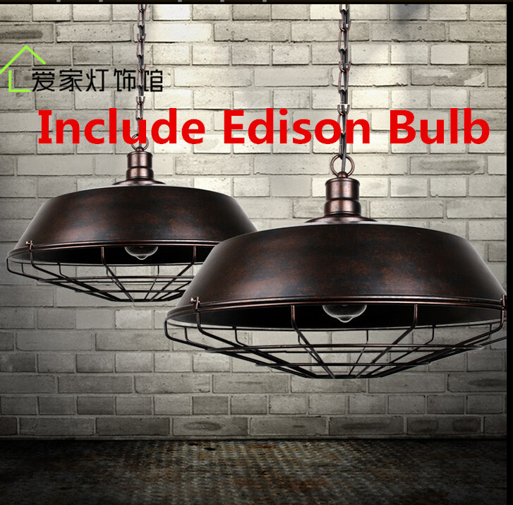 American Country Creative Loft Pendant Light Iron Lampshade Decoration Nordic Vintage Industrial Coffee Bar Lamp E27 Bulb Edison frled pendant light loft bar nordic classic black bulb wire lamp cage diy lampshade industrial guard shade lamparas
