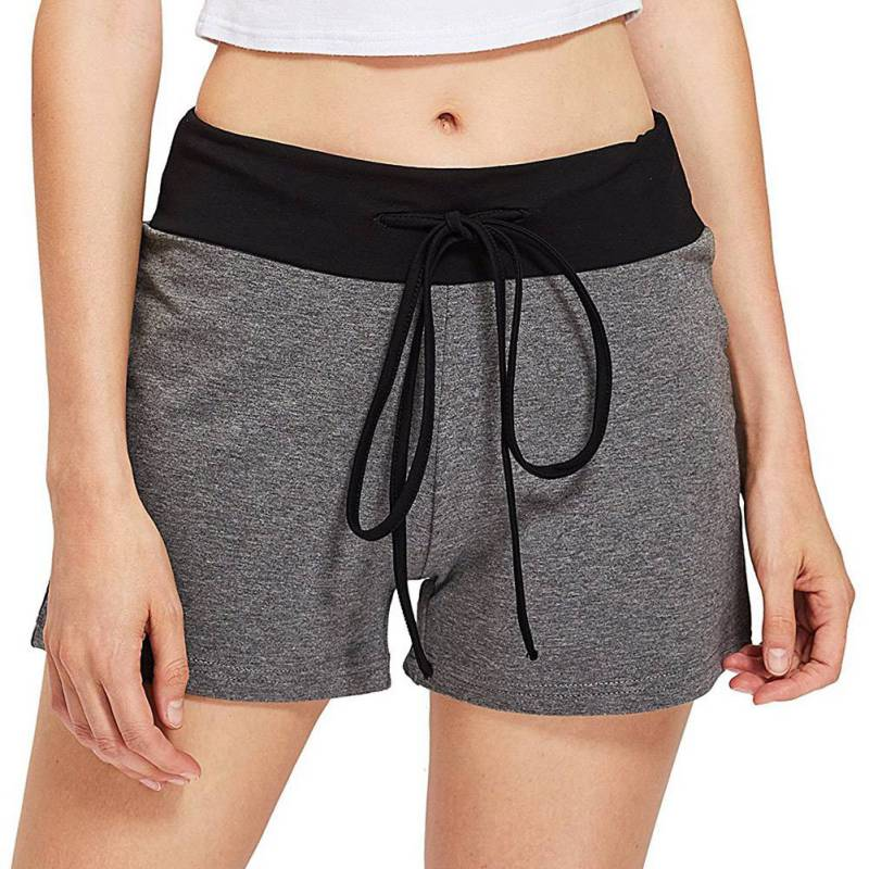 Women Casual Breathable Quick-drying Shorts Large Size Solid Color Elastic Lacing Waist Wide Leg Shorts