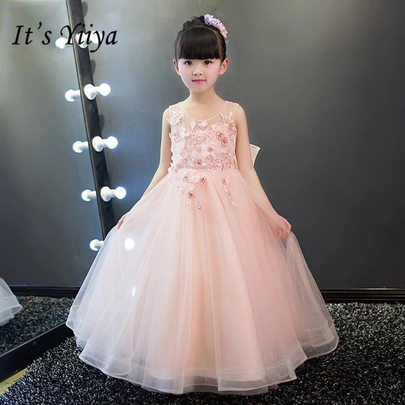 It's yiiya New Sleevelss Pink   Flower     Girl     Dresses   Elegant O-neck Birthday Bling Tank   Girl     Dress   TS239