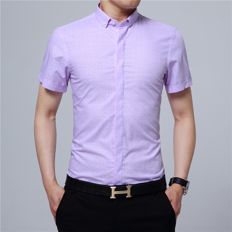 Summer Men's Short Sleeve Shirts Size XL 3XL 4XL Purple Blue White Teen Hard Men Fashion Casual Man Shirt Cotton Polyester Cloth