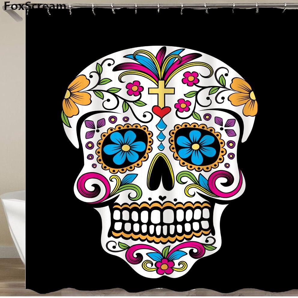 Tela Mexicana Azúcar Cráneo Muestra Cortinas Dibujos Animados Color