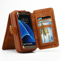BRG Multifunction Wallet Leather Case For Samsung S4 S5 S6 S7 EDGE S8 S9 NOTE4 NOTE5 Note8 Zipper Purse Pouch Bags Lady Handbag
