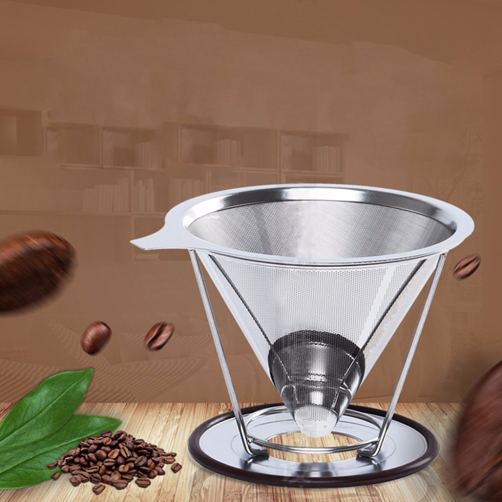 цена на Brief Design Stainless Steel Mesh Strainer Baskets Coffee Double Layer Filter Reusable Cone Coffee Dripper