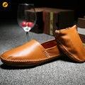 2017 Марка Мужские Кожаные Мокасины мужские Лодка Обувь Slip On обувь Дышащий Roll Up Мокасины Повседневная Обувь Мужская Гонщик обувь