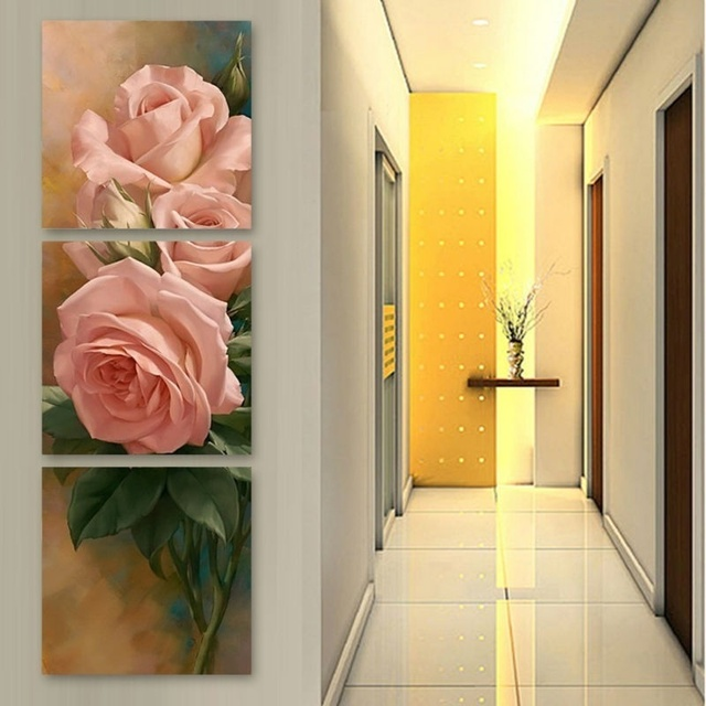 3 Panels Wall Art Picture Canvas Paintings Pink Roses Wall ...
