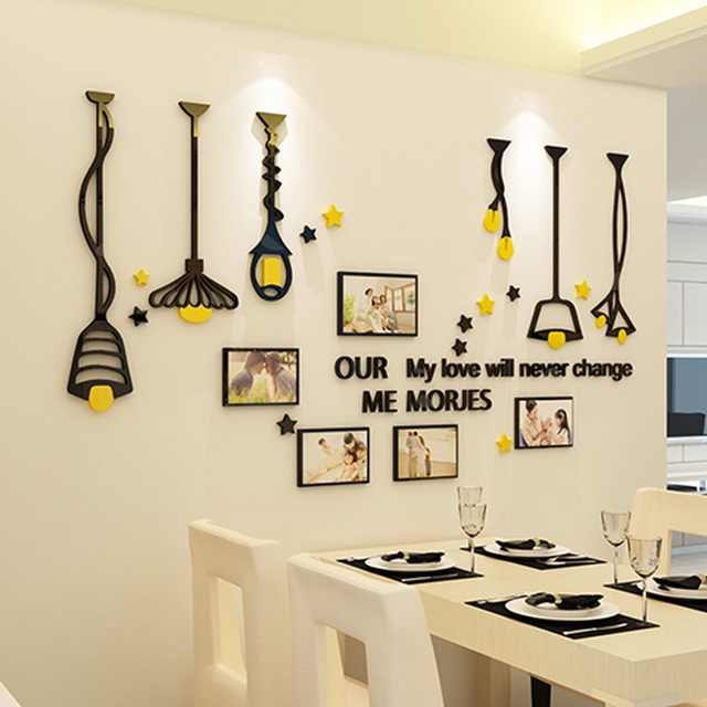 Liontin Lampu Hangat Dan Bingkai Foto Desain Acrylic Stiker Diy Ruang Tv Latar Belakang Hiasan Dinding