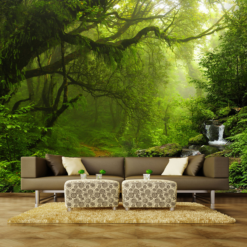 photo wallpaper 3d stereo virgin forest nature