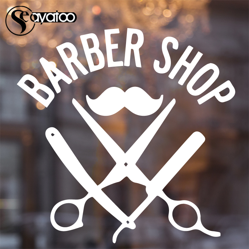 Us 11 58 Barber Shop Hairdresser Mustache Vinyl Wall Sticker Decal Scissor Beauty Salon Wallpaper 57x58cm In Wall Stickers From Home Garden On