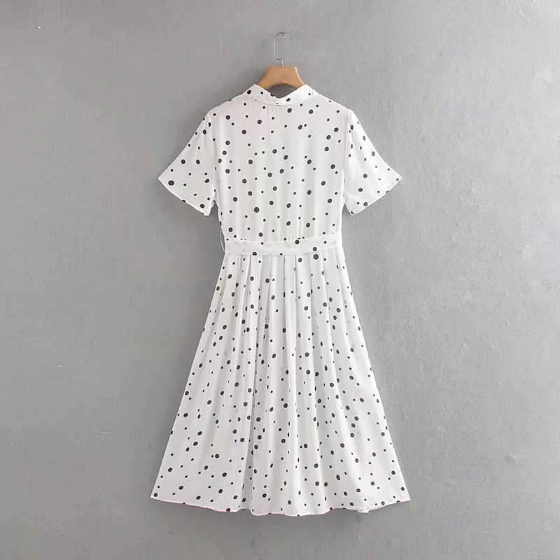 Summer Fashion Polka Dot Print Women White Long Dress 2019 Female Short Sleeve Turn-Down Collar Chic Beach Dresses With Belt Za