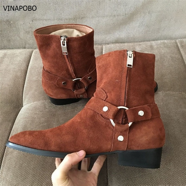 6dbb4f5d498 US $149.98 |High Top Handmade Western Ankle strap Chelsea Wedge Ankle Boots  Dark Brown Suede Wyatt Cowboy casual Martin Boots Real Picture-in Snow ...