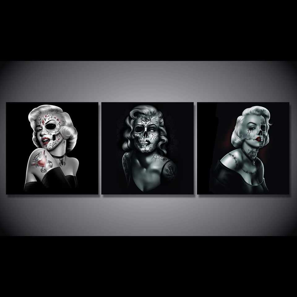 3 Pieces/Set Black And White Marilyn Skull Poster Modern Home Wall Decor Canvas Picture Art HD Print Painting On Canvas Artworks