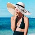 2017 mujeres de la manera grande ancho-ancho disquete verano lentejuelas alfabeto diosa de playa sombrero de paja sombrero para el sol