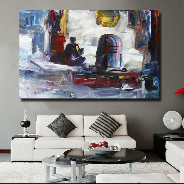 HDARTISAN Modern Abstract Art Oil Painting Canvas Prints Wall Art Pictures  For Bedroom Industrial Living Room