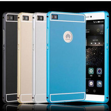 5.0 inch For Huawei P8 Lite Housing Case Acrylic Back Cover Aluminum Metal Frame Bumper Phone Bag Shell Cases For Huawei P8lite