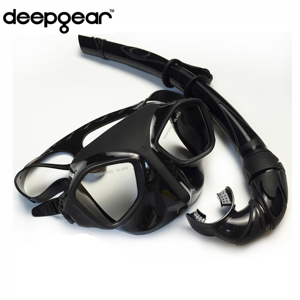 DEEPGEAR Top Scuba diving gears and snorkel equipment Black silicone diving mask Low profile spearfishing mask flexable snorkel image