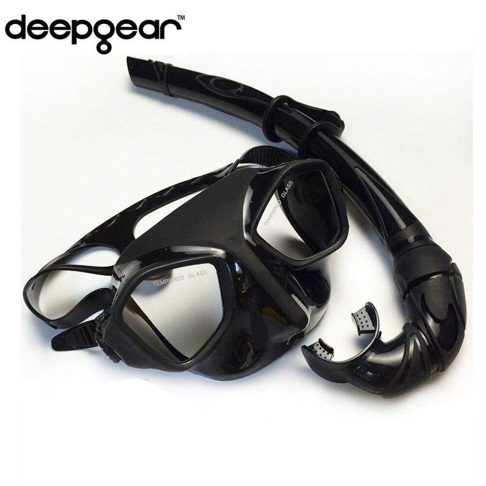 Deepgear Top buceo engranajes y equipo de snorkel máscara de buceo de silicona negra perfil bajo pesca submarina máscara flexable snorkel