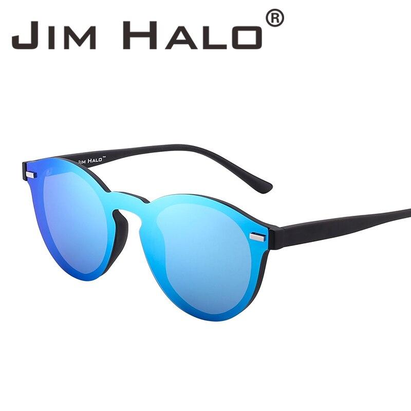 8fab320ed6c Jim Halo One Piece Polarized Rimless Club Round Sunglasses Flash Mirrored  Circle Lens Retro Vintage Sun Glasses Fashion