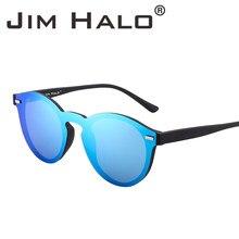 Jim Halo D une Seule Pièce Polarisées Sans Monture Club lunettes de Soleil  Rondes Flash Miroir Cercle Lentille Rétro Vintage Lun. 4d548d47b150