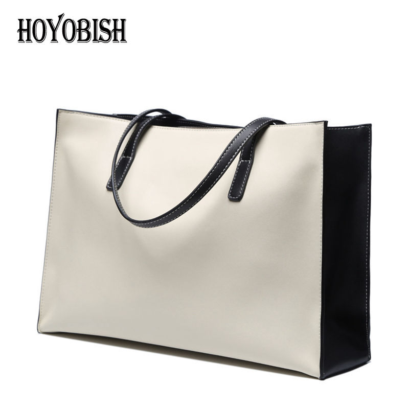 HOYOBISH Luxury 100% Genuine Leather Tote Bag For Women Large Capacity Top-handle Handbag Female Cow Leather Shoulder Bags OH114 jianxiu brand genuine leather handbag female casual leather tote top handle bag large shoulder bag for women messenger bags 2017