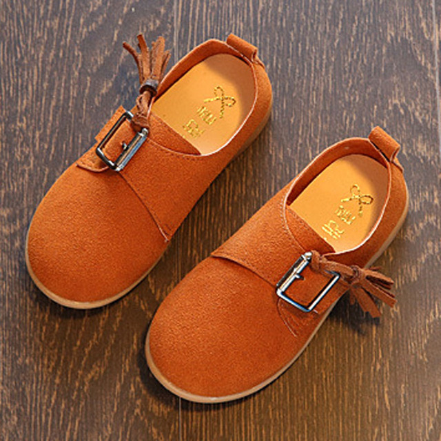 2017 New Korea Style Buckle Leather Shoes For Kids Fancy Toddler Girls Flats Slip On Infant Girl Walker Shoes Child Casual Shoes