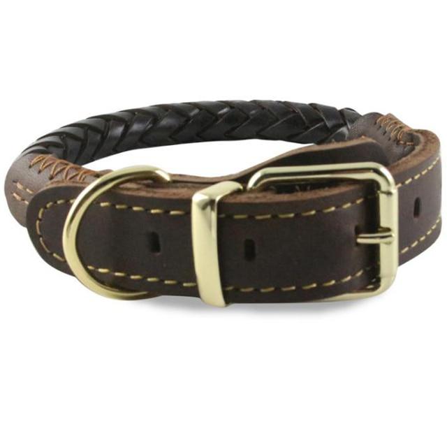 1cc2acd484d Lederen Halsbanden Grote Honden Gevlochten Handgemaakte Basic Halsbanden  Sterk Duurzaam Huisdieren Accessoires voor Golden Retriever Husky