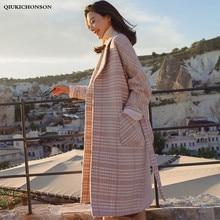 Quilted Wool Blend Coat Winter Women Vintage Elegant Step Collar Ladies Houndstooth Plaid Tunic Long Wool Coat Jacket manteau
