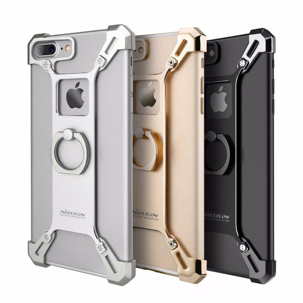 imágenes para Cubierta de nillkin para el iphone 7 7 plus case bumper bardes 4.7 y 5.5 aleación De Aluminio de la contraportada con el anillo de soporte para teléfono para iphone7 case