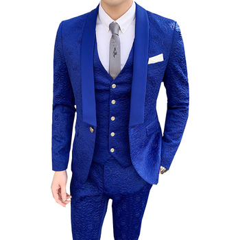 print suits Men 2020 fashion Casual slim fit men blazers pants 3 pcs groom party wedding dress suits office work terno masculino
