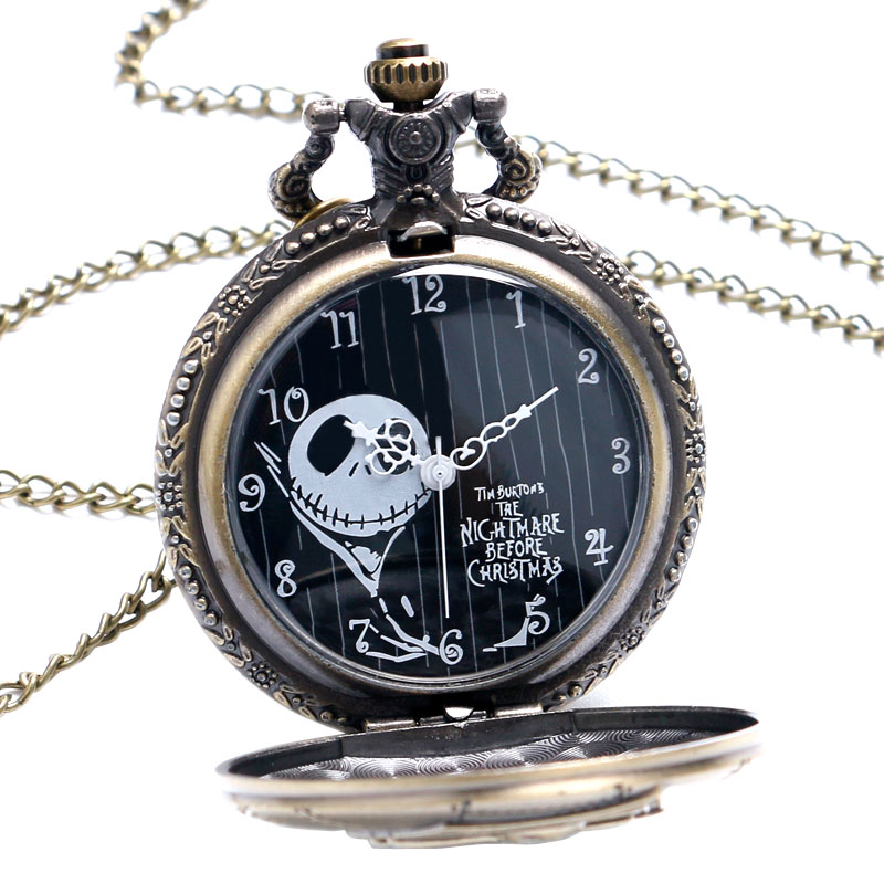 Fashion Vintage Quartz Pocket Watch The Nightmare Before Christmas Men Women Kids Necklace Pendant With Chain Birthday Gifts