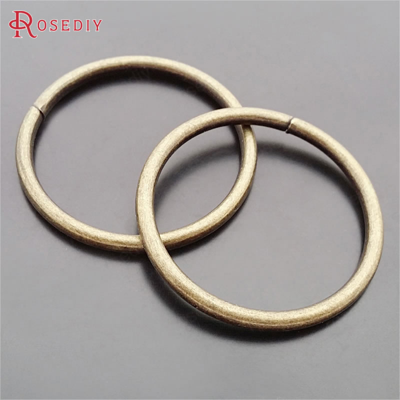 (29529)10PCS Diameter 40mm,Thickness 3MM Antique Bronze Iron Big Jump Rings Split Rings Diy Jewelry Findings Accessories