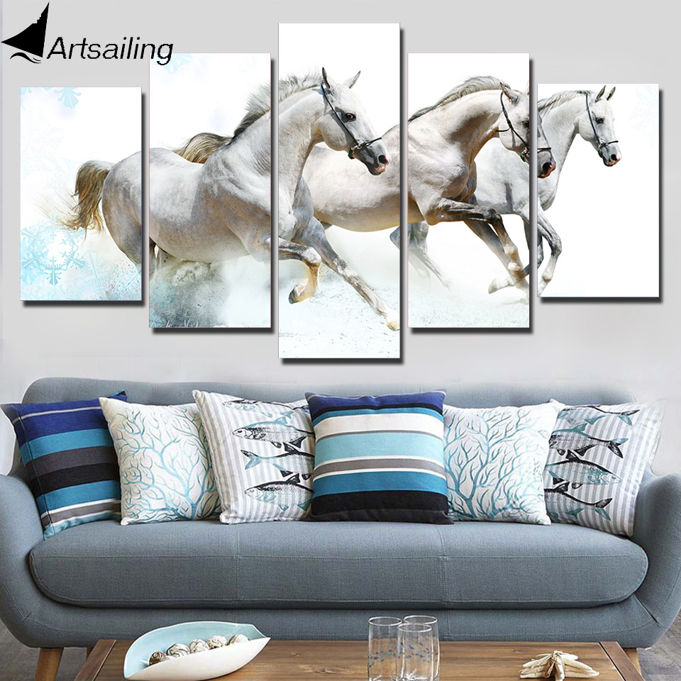 HD Printed 5 Piece Canvas Art Running Horses Carving Wall Pictures ...
