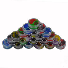 20pcs 10ml Non Stick acrylic silicone jar Bho Silicone oil Container Slick oil Dab Wax Jar with Acrylic Transparent Case(China)