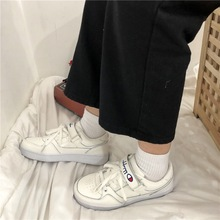 Hook Loop Shoes Women Leather Casual Fashion Sneakers 2019 White Chunky Platform Trainers Ladies