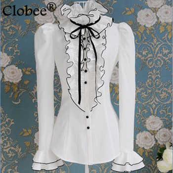 2018 Батас e blusas Весна и осень белый рябить черная лента лук пузырь футболки с длинными рукавами большие размеры Топ Блузки рубашка cd71