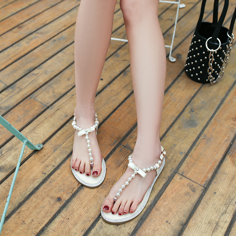 fc1243637dd880 2017 Brand women s sandals summer beaded stone pearl female sandals Rome  flat sandwich toe women s sandals flat wedding shoes-in Women s Sandals  from Shoes ...