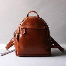 Корейский ретро женские кожаные на ремне, масло воск Разделение кожа девушки рюкзак для школы книги сумка Повседневный Рюкзак коричневый красный