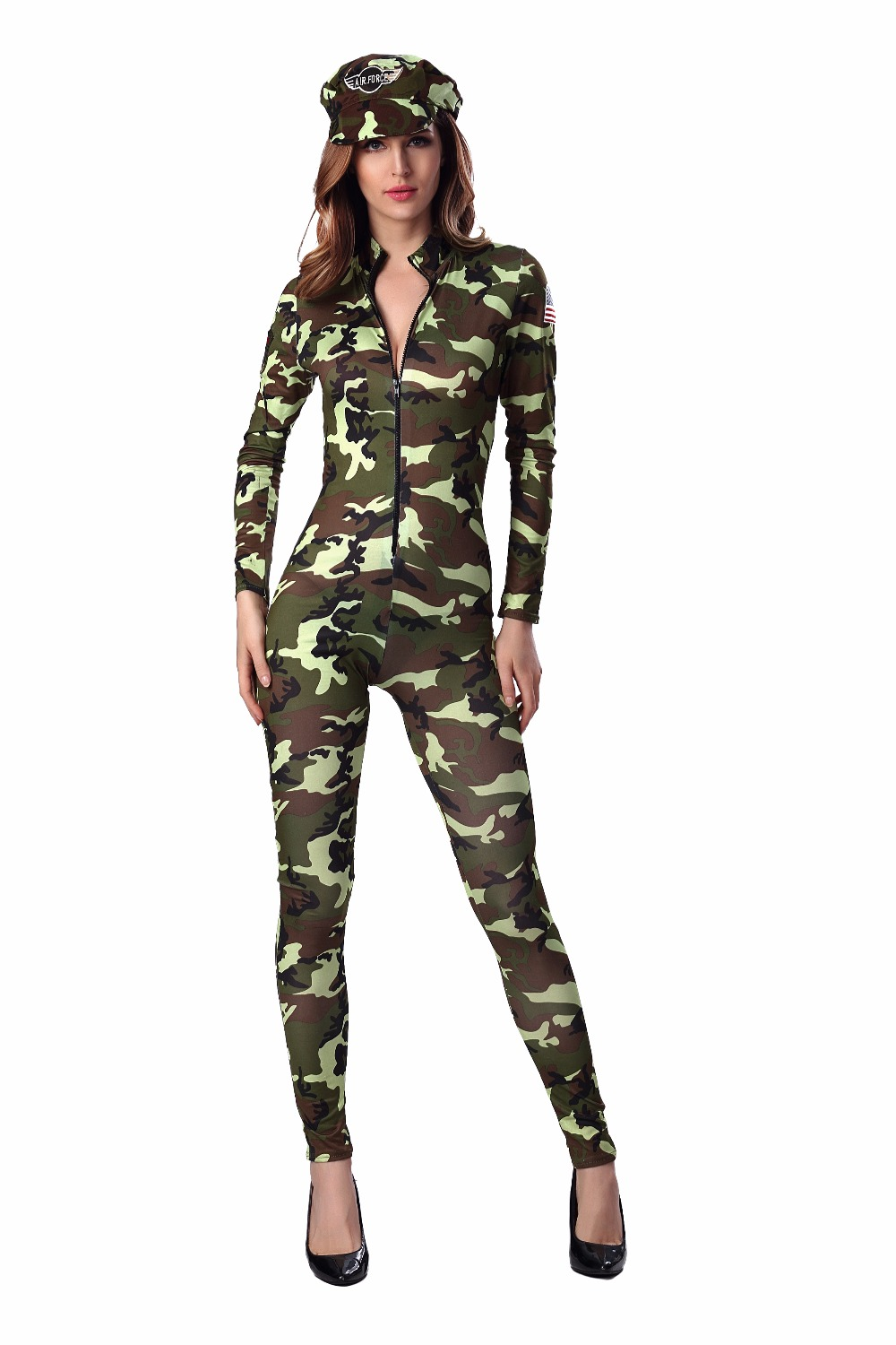 Halloween <font><b>Sexy</b></font> Camouflage Women Costumes <font><b>Army</b></font> Soldier Air Force Commander Policewoman <font><b>Cosplay</b></font> Jumpsuits For Lady Adult image