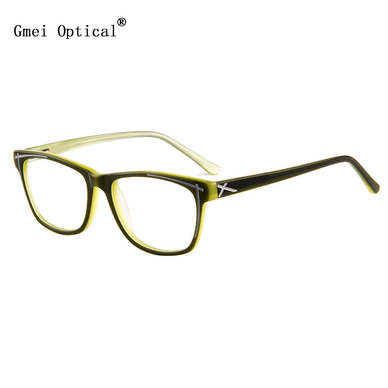 Gmei Optical Classical Style Hypoallergenic Acetate Full Rim Women Optical Eyeglasses Frame With Spring Hinge
