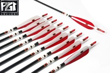PG1ARCHERY Carbon Arrow With 5 Parabolic Feathers Spine 500 OD 7.6mm Hunting Archery Arrows