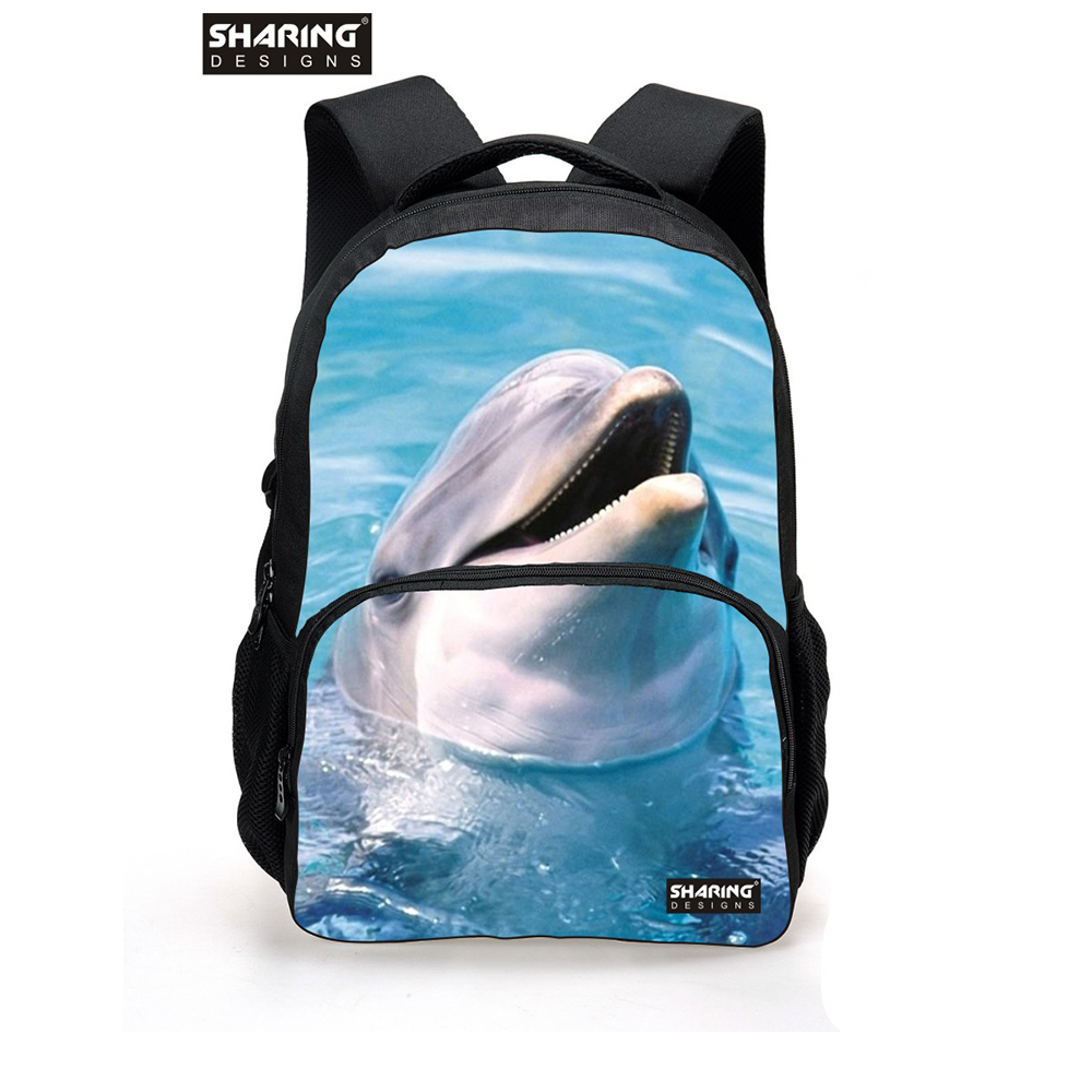 Fashion 2017 Mens Animal Backpacks 3D Zoo Dolphin Printing Student School Knapack Casual Women Travel Backbag Rucksack