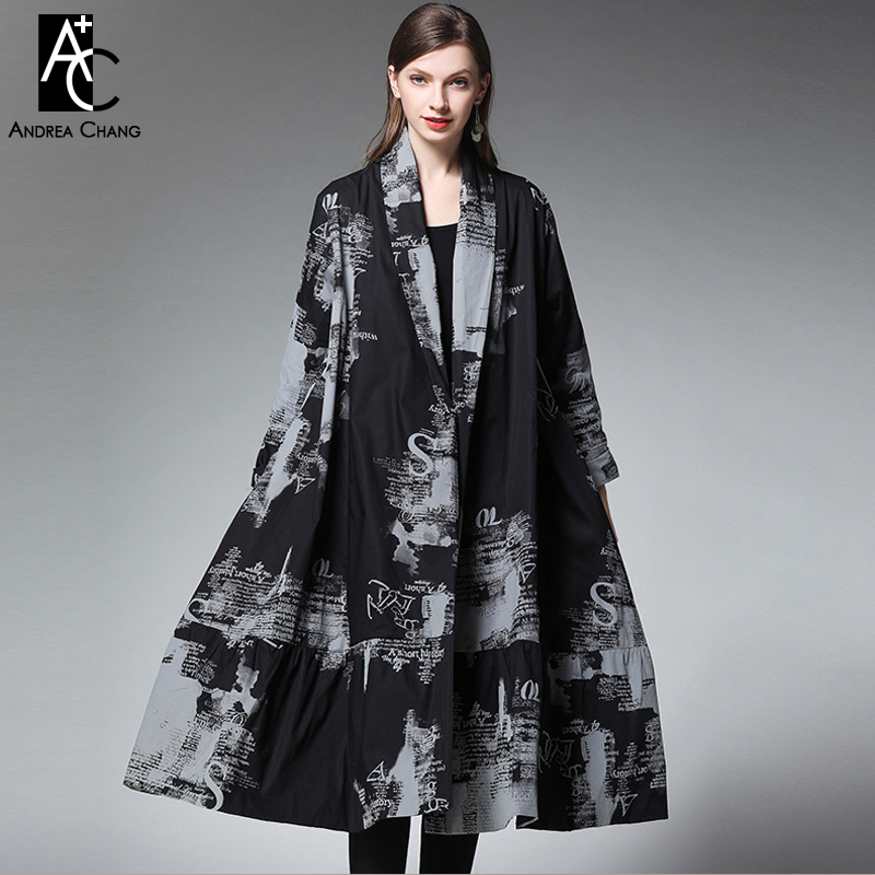 summer spring woman   trench   outwear v-neck gray letter pattern print black long coat fashion a-line plus size cotton   trench   coat