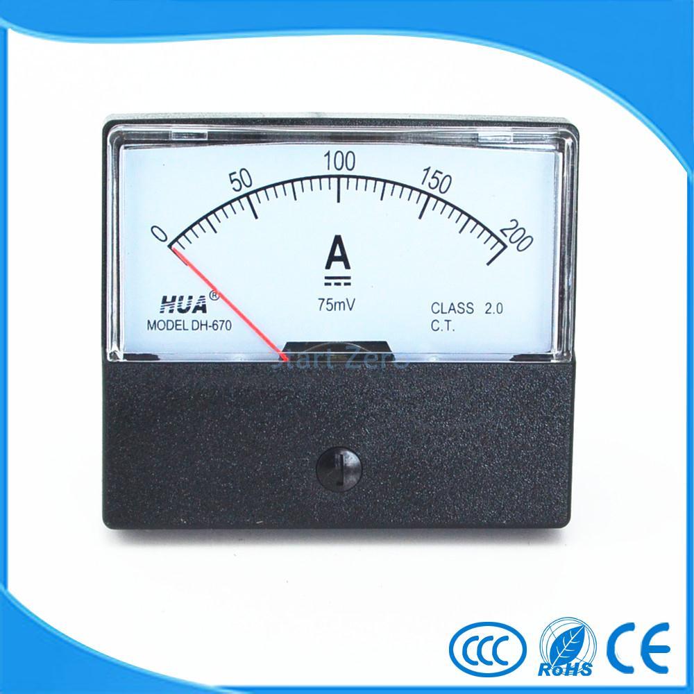 DC 0-200A аналоговый панельный измеритель Амперметр Датчик DH-670