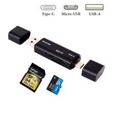 Aluminum Multi-in-1 Memory Card Reader / Writer, SD/Micro SD Card Reader Adapter with USB / Micro USB / Type-C for Android Black