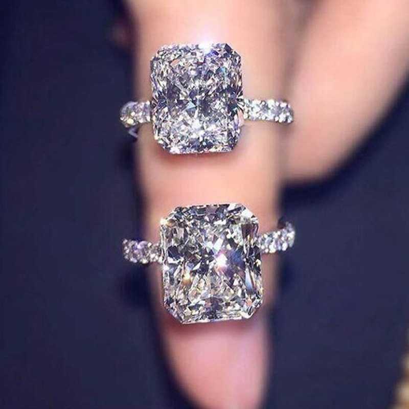 חדש חתונת טבעות לנשים כיכר סימולציה זירקון תכשיטי כיכר נסיכת קראט ריינסטון אירוסין טבעת אבזרים