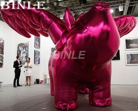 Attractive pink shinning giant inflatable flying pig with wings cartoon toys for advertising